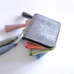 Handmade LEATHER Womens Zipper Small Wallet Leather Tassels Small Wallet FOR Women
