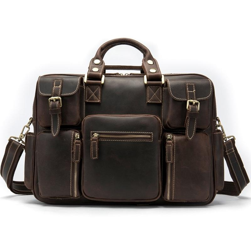 Vintage Leather Men's Travel Bag Business Handbag Laptop 14inch Briefcase For Men