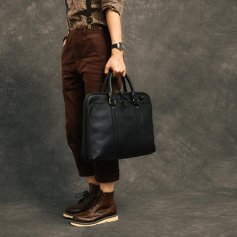 "Coffee Leather Mens 15"" Black Laptop Briefcase Business Brown Large Handbag For Men"
