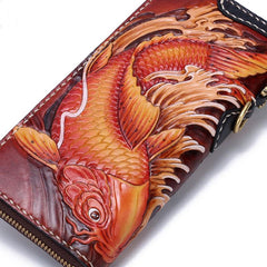Handmade Leather Carp Mens Chain Zipper Biker Wallet Cool Leather Wallet Long Phone Wallets for Men
