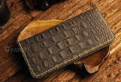 Handmade long leather wallet crocodile style leather clutch wallet for men zip