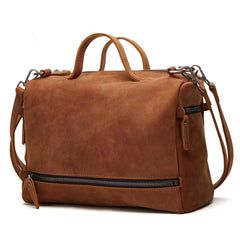 Casual Leather Mens Brown Messenger Bag Travel Bag Handbag Shoulder Bag for Men