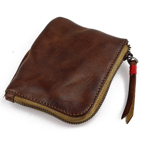 Vintage Leather Men's Small Change Wallet Brown Zipper Front Pocket Wallet For Men