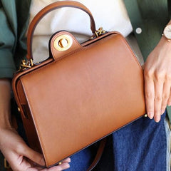 Structured Satchel Brown Leather Satchel Purse - Annie Jewel