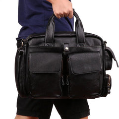 Cool Black Leather Men Large Overnight Bag Travel Bags Weekender Bags For Men
