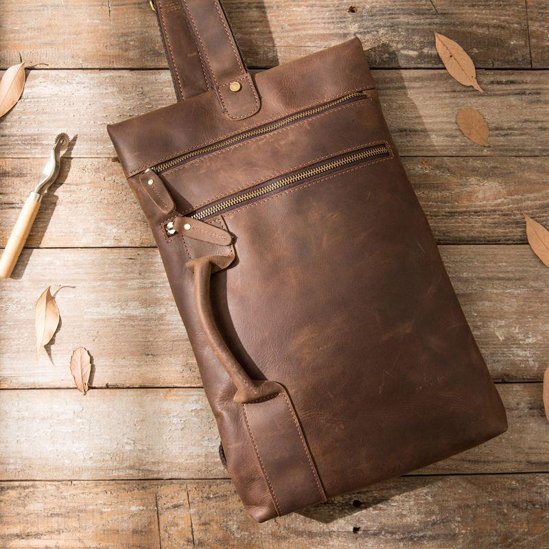Coffee Leather Mens Cool Sling Bag Sling Shoulder Bags Chest Bags for men