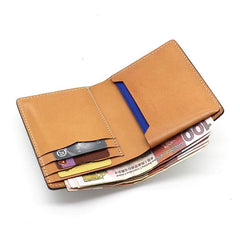 Cool Leather Mens Camouflage Small Wallet Front Pocket Wallet billfold Slim Wallet for Men