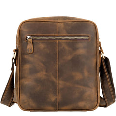 Vintage LEATHER MEN'S SMall Vertical Courier Bag BROWN Messenger Bag Side Bag Postman Bag FOR MEN