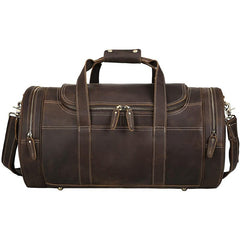 Casual Brown Leather Round Men's Large Overnight Bag Travel Bag Luggage Weekender Bag For Men