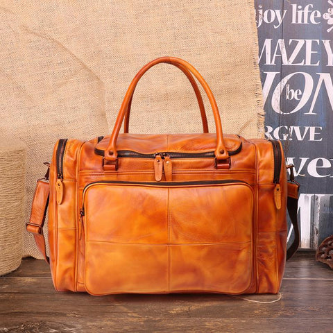"Cool Brown Leather Mens 15"" Large Weekender Bag Black Business Travel Bag Tan Duffle Bag for Men"