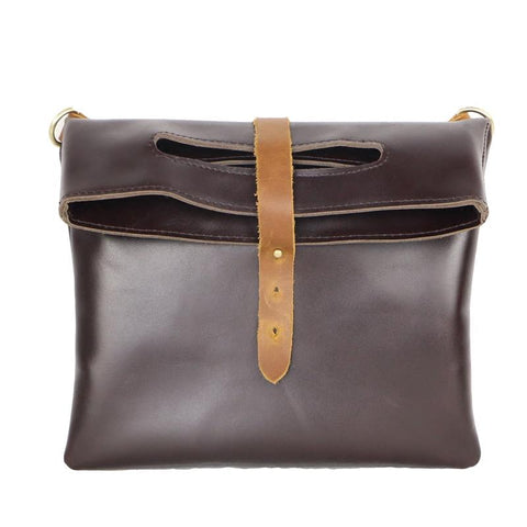 Dark Coffee  Leather Mens Casual Small Side Bags Messenger Bags Brown Postman Bag For Men