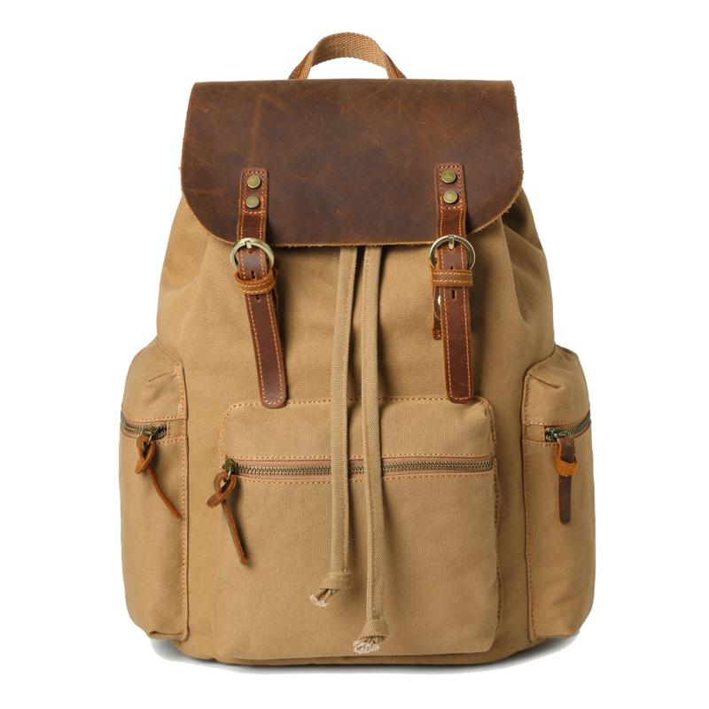 "Canvas Leather Women Mens 16"" Gray Travel Backpack Brown Computer Bag College Backpack for Men"