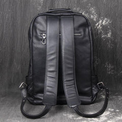 Cool Black Leather Mens Backpacks 15inch Laptop Backpacks School Backpack for Men