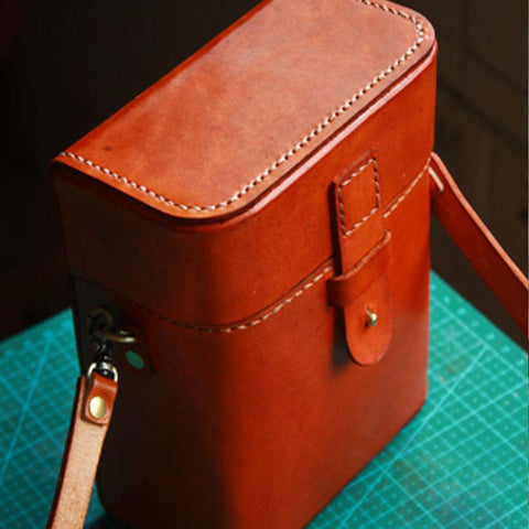 Handmade Brown Leather Mens Small Box Bag Shoulder Bag Messenger Bags for Men