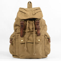 Khaki Canvas Mens Large 15'' Hiking Backpack Travel Backpack College Bag Computer Backpack for Men