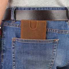 Vintage Brown Leather Men's Slim Small Bifold Wallet Front Pocket billfold Wallet For Men