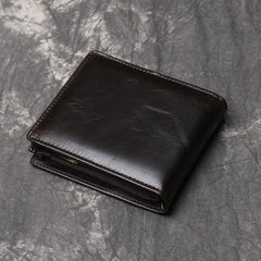 Cool RFID Leather Mens Bifold Small Wallet Short Wallet Front Pocket Wallets for Men