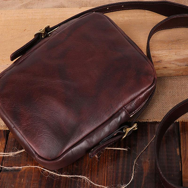 Cool Leather Mens Small Messenger Bag Small Shoulder Bag Crossbody Bags For Men