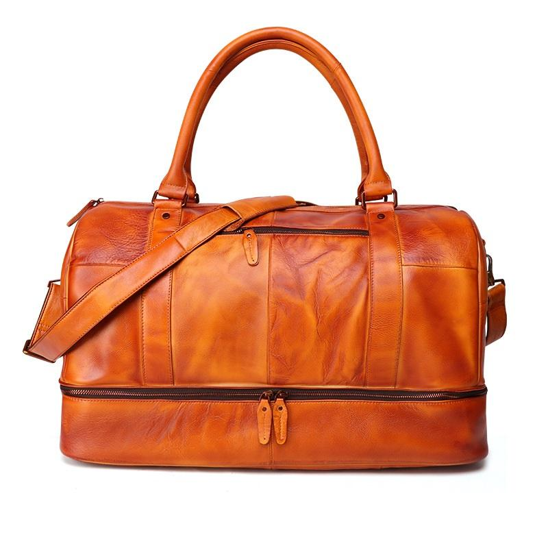 "Cool Brown Leather Mens  23"" Large Weekender Bag Black Business Travel Bag Duffle Bag for Men"