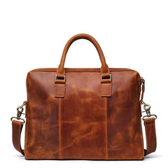 Brown Leather Mens 15 inches Simple Laptop Work Bag Handbag Briefcase Shoulder Bags Business Bags For Men