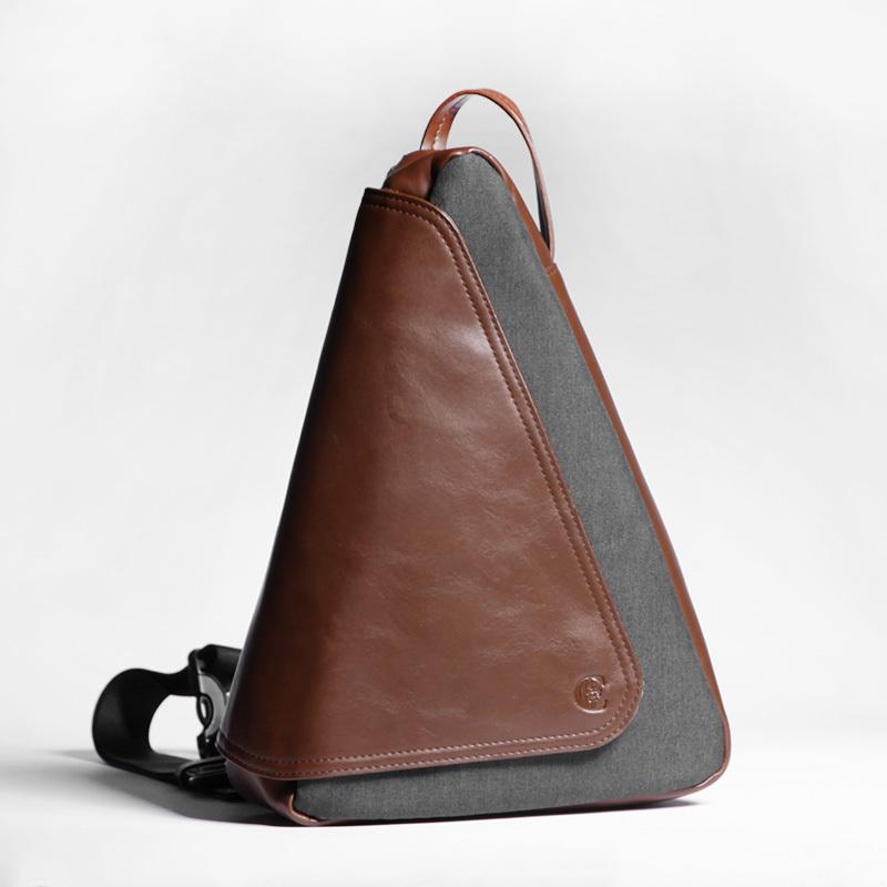 Cool OXFORD CLOTH PVC Men's Sling Bag Triangular One Shoulder Backpack Chest Bag For Men