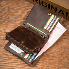 Brown Cool Leather Mens Trifold Small Wallet billfold Wallet Bifold Pocket Small Wallet for Men
