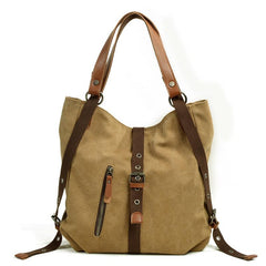 Casual Canvas Leather Womens Mens Gray Tote Bag Shoulder Bag Khaki Tote Purse For Women