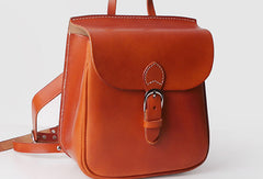 Leather Womens Cute Small Backpack Handmade School Backpack for Women