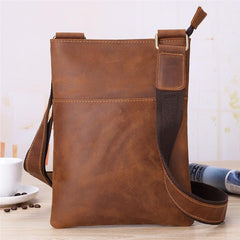 Vintage Brown Leather Men's Small Vertical Side Bag Small Messenger Bag For Men