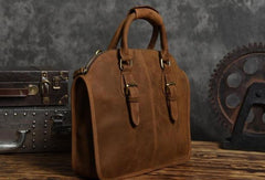 Handmade Cool leather mens Shoulder Briefcases vintage laptop Briefcase Business Briefcase