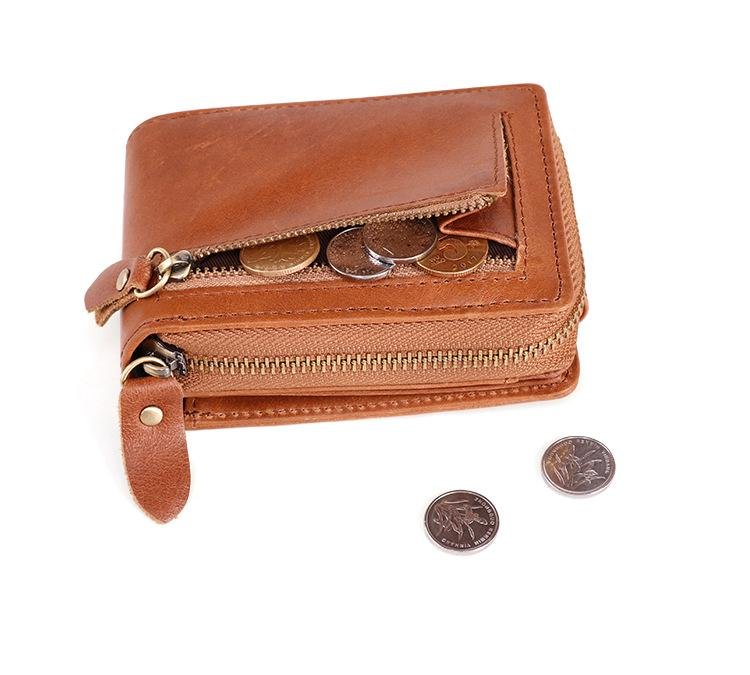 RFID Brown Leather Men's Zipper Small Card Wallet Small Card Holder For Men