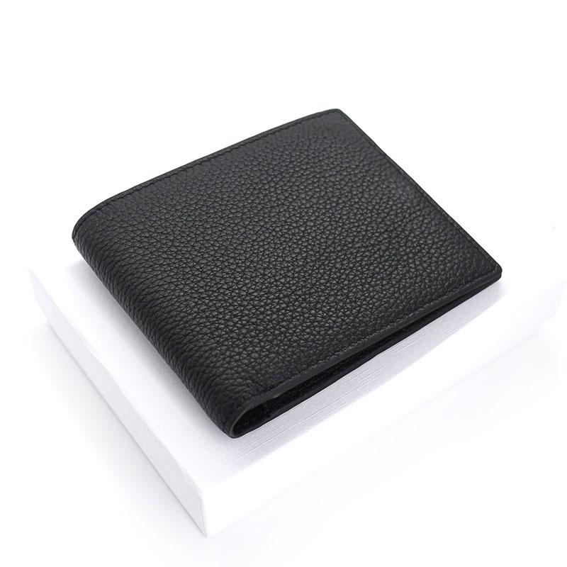 Black Leather Mens Bifold Small Wallet Front Pocket Wallet Slim billfold Small Wallet for Men