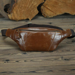 Brown MENS LEATHER FANNY PACK Coffee BUMBAG Vintage WAIST BAGS for Men