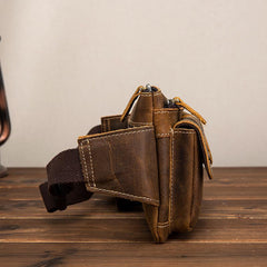 Vintage Brown Leather Men's Fanny Pack Hip Pack Brown Chest Bag Waist Bags For Men