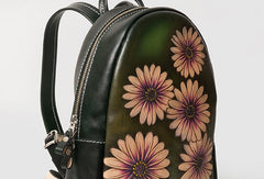 Handmade Leather green floral backpack bag purse shoulder bag phone satchel bag