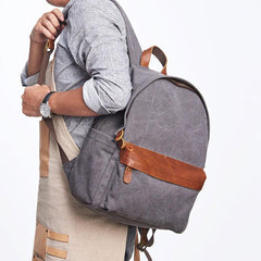 Cool Canvas Gray Mens Backpack Canvas Travel Bag Canvas School Bag for Men