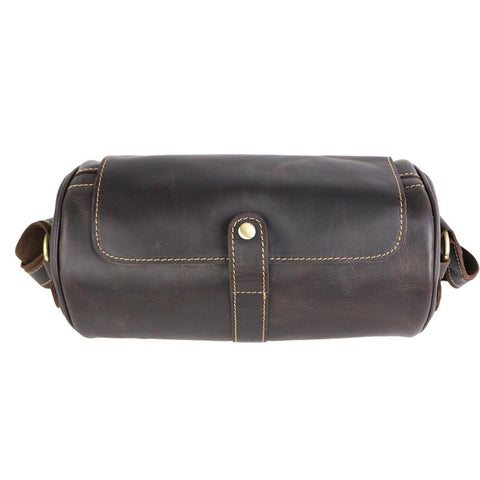 Brown Leather Mens Casual Bucket Shoulder Bag Barrel Messenger Bags Postman Bag For Men