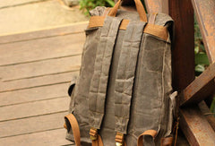 Handmade Mens Cool Canvas Backpack Sling Bag Large Black Travel Bag Hiking Bag for men