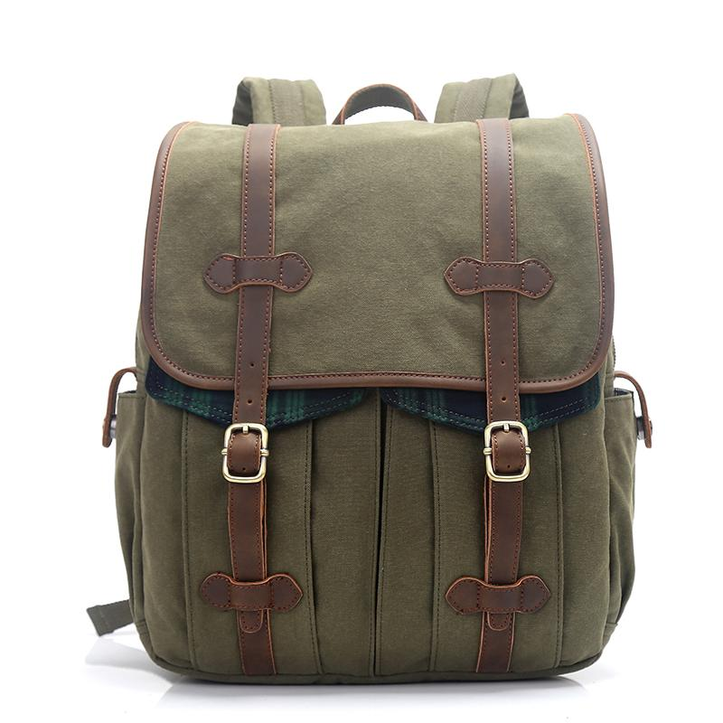 "Canvas Leather Mens 15"" Green Backpack Computer Backpack Luggage Backpack for Men"