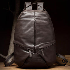 Black Fashion Mens Leather 15-inches Large Backpacks Coffee Travel Backpacks School Backpacks for men