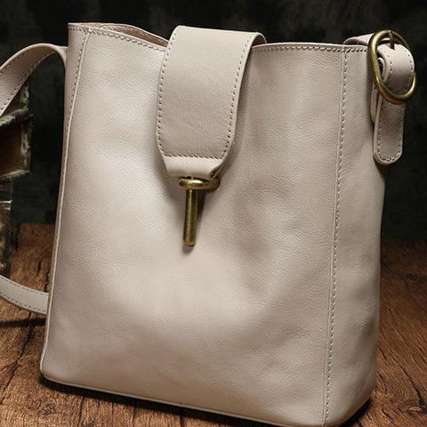 Fashion Leather Brown Gray Bucket Shoulder Bag Barrel Purse With Clutch For Women