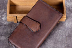 Genuine Leather Wallet Folded Long Wallet Vintage Wallet Purse Clutch For Women