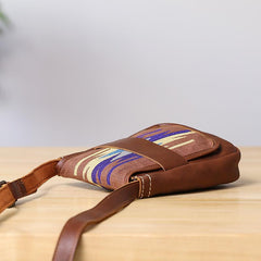 Embroidered Leather Mens Womens Mini Shoulder Bag Side Bag Messenger Bag for Men