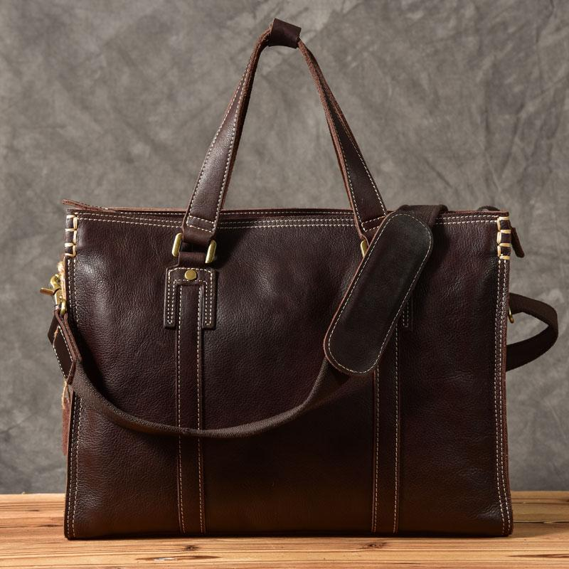 "Brown Leather Mens 14"" Laptop Briefcase Business Messenger Bag Brown Large Handbag For Men"