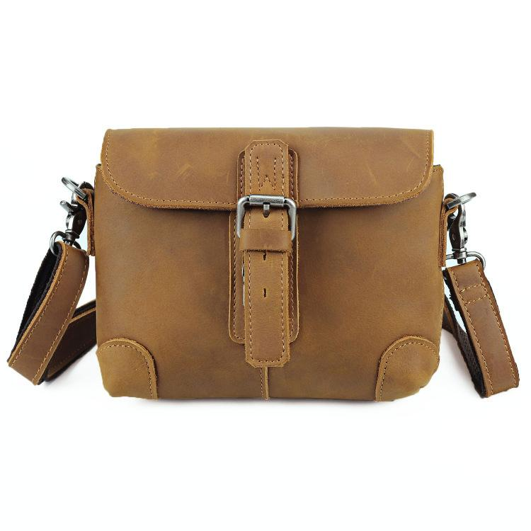 Cool Brown Leather Men's 8 inches Postman Bag Camel Belt Bag Courier Messenger Bag For Men