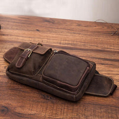 Vintage Mens Leather Biker Fanny Pack Waist Bags Fanny Bag For Men