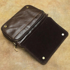 Vintage Leather Mens Dark Brown Small Messenger Bag Shoulder Bags Side Bag for Men