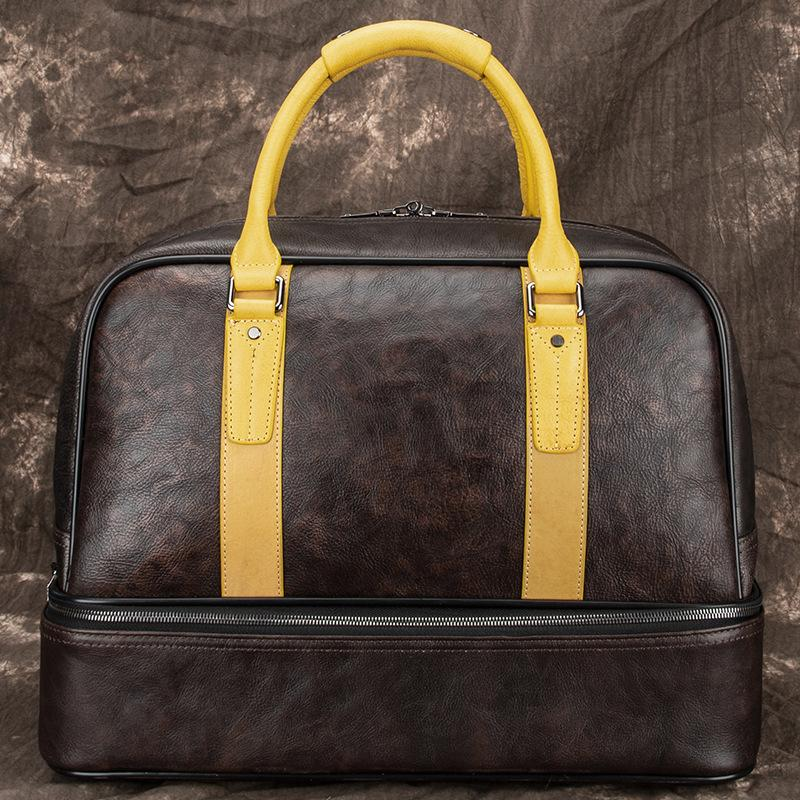 Casual Brown Leather Men Business Weekender Bags Handbag With Shoes Storage Travel Bags Overnight Bags For Men