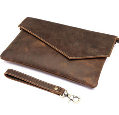Dark Brown Vintage Leather Wristlet Bag Mens Tablet Bag Handy File Bag Clutch Bag For Men