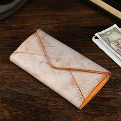 Handmade Leather Mens Gray Envelope Long Wallet Blue Long Wallet Clutch Bag For Men